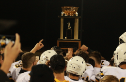 Trophy held high, Ventura celebrates another victorious year. Credit: Jason Messner / The Foothill Dragon Press