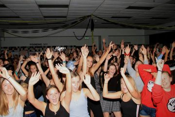 "Students have a wondrous time as the ""Cupid Shuffle"" plays. Credit: Ethan Crouch / The Foothill Dragon Press"