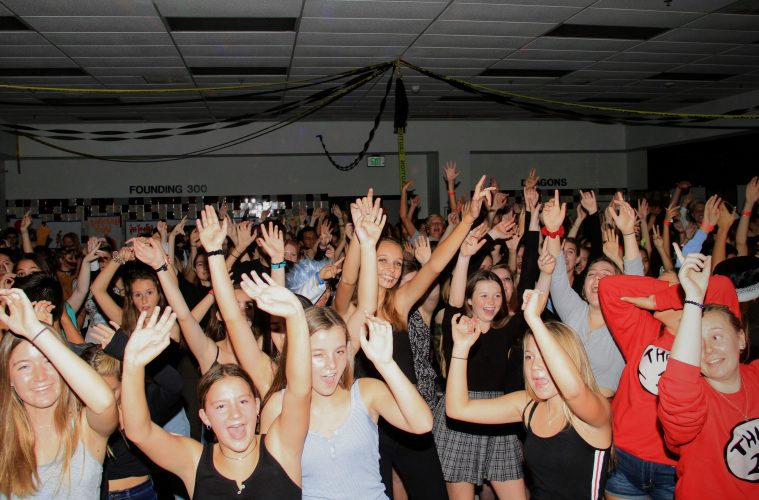 """Students have a wondrous time as the """"Cupid Shuffle"""" plays. Credit: Ethan Crouch / The Foothill Dragon Press"""