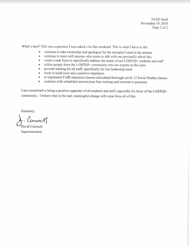 Creswell's email has publicly circulated through the Ventura Unified staff that he sent the message to.