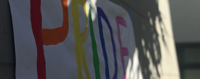 QSA Pride Week posters hang around campus in preparation for the event. Credit: Anna Lapteva / The Foothill Dragon Press