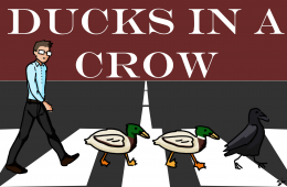 "Cartoonist Lillian Li visually depicts math teacher Wayne Powers' popular joke ""get all of your ducks in a crow."""