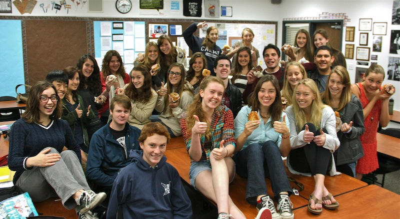 This year's Dragon Press staff celebrates the news of being recognized as an All-American news site. Credit: Melissa Wantz/The Foothill Dragon Press.