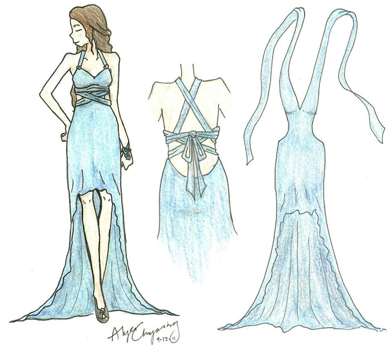 Junior Alyssa Chayasing's prom dress sketch is a semi-finalist in a national competition. Credit: Alyssa Chayasing.