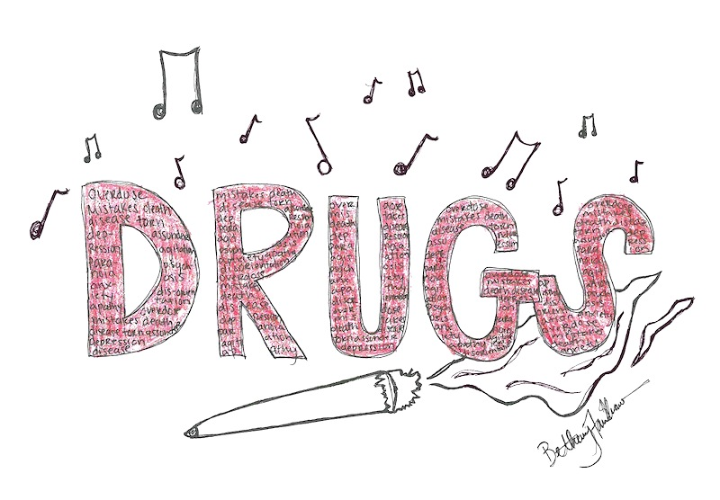 To inspire students to refrain from drug use, Donald Gloisten is starting an anti-drug lyrical contest. Art credit: Bethany Fankhauser/The Foothill Dragon Press.