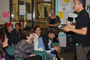 Seniors listen to industrial designer John Cook share information about his job. Credit: Bridget Parrino/The Foothill Dragon Press.