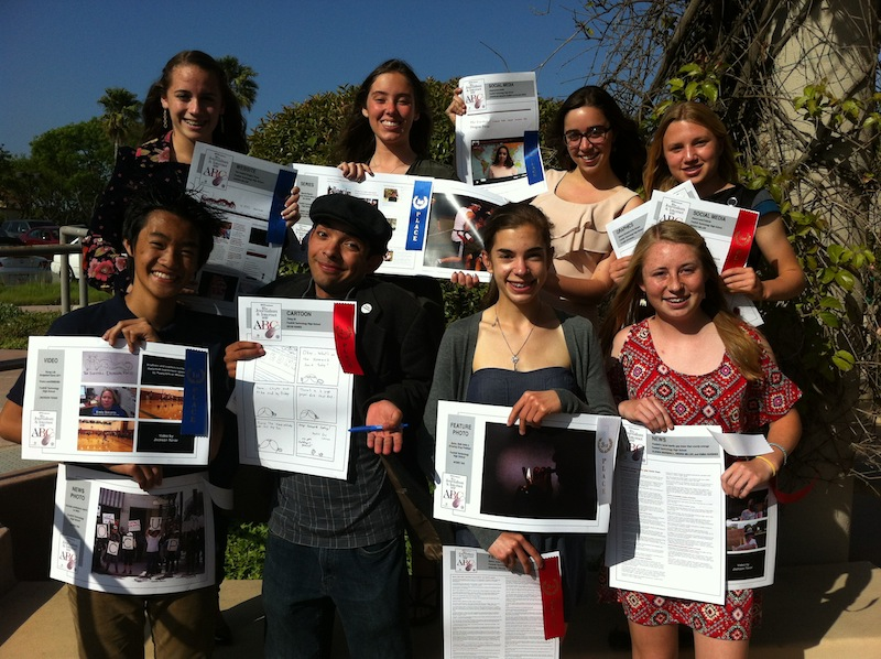 The Foothill Dragon Press was recognized by Ventura County Star with 14 awards Thursday night. Top, from left: junior Felicia Perez, senior Anaika Miller, junior Molly Roberts, freshman Claire Stockdill. Bottom, from left: sophomore Aysen Tan, senior Kevin Kunes, sophomore Glenda Marshall, and sophomore Kienna Kulzer. Credit: Melissa Wantz/The Foothill Dragon Press.