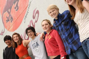 From left, members of Foothill's freshmen class: Alejandro Torres, Paris Shepherd, Kazu Koba, Allison Pagliano, Lucas Wiltjer and Samantha Main. Credit: Aysen Tan/The Foothill Dragon Press.