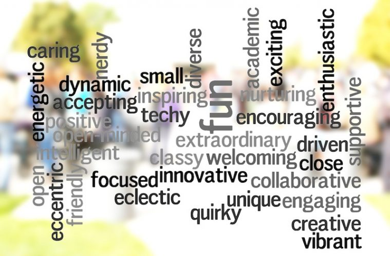 Foothill teachers and students were surveyed on what words they would use to describe the school climate. These are some of the words they chose. Credit: Aysen Tan/The Foothill Dragon Press