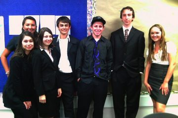 Seniors Karie Portillo, Alex Cabral, Lindsey Boyd, Brent Ocker, Luke Hamer, Michael Knapp, and Desiree Martin after their Hero Project Presentations. Credit: Heather Luscombe/The Foothill Dragon Press.