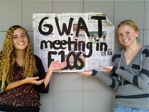 Juniors Lujain Al-Saleh and Hannah Alday are looking forward to another year participating in GWAT, Foothill's Global Warming Action Team. Photo by Caitlin Trude of The·Foothill Dragon Press.