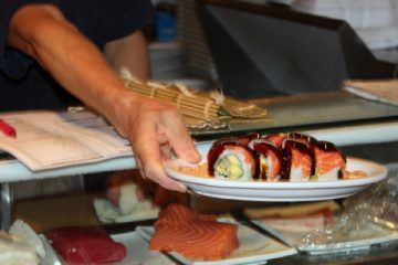 A dish from local restaurant, I Love Sushi, is served to customers. Credit: Rachel Crane/The Foothill Dragon Press.