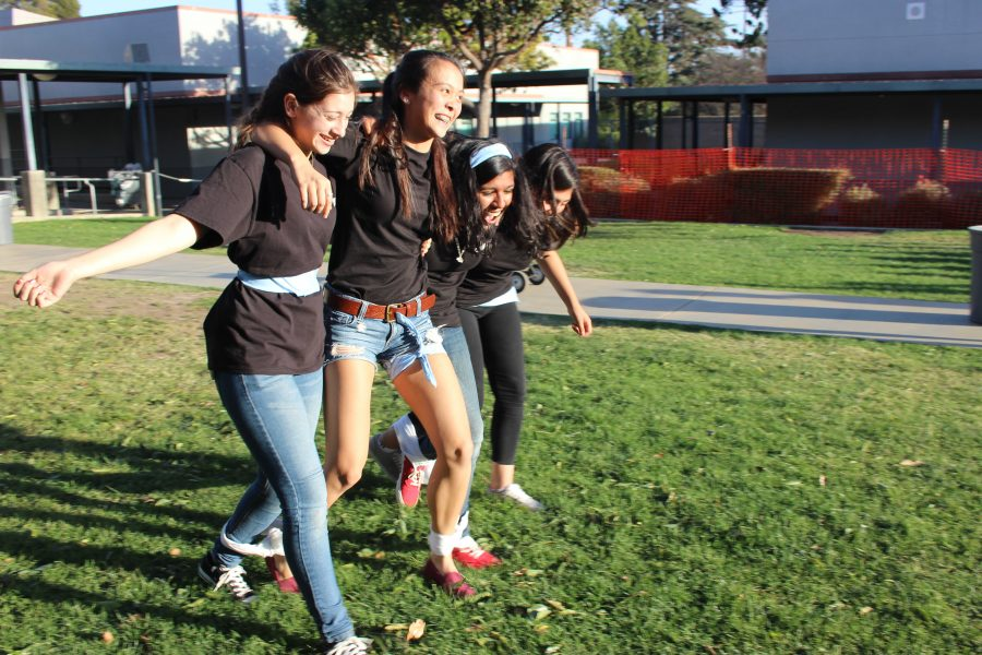 BioScience students participate in the five-legged race at the BioScience Olympics. Credit: