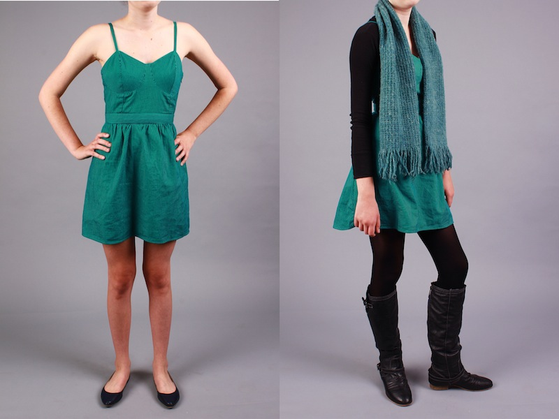 Here+is+one+example+of+a+way+to+transform+a+summer+dress+into+a+cute%2C+warm%2C+fall+outfit.+Credit%3A+Aysen+Tan%2FThe+Foothill+Dragon+Press