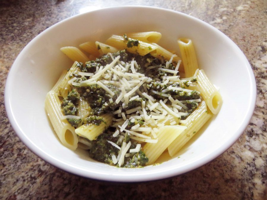 This is what the finished version of this easy-to-make pesto pasta looks like. Credit: Kienna Kulzer/The Foothill Dragon Press