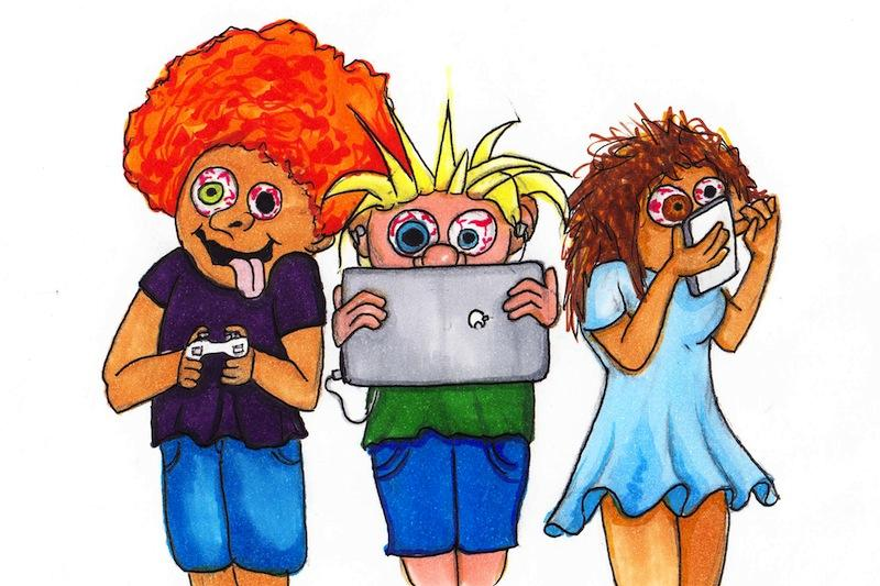 Adults, teenagers, and children alike are constantly plugged into the technological world. Credit: Lucy Knowles/The Foothill Dragon Press