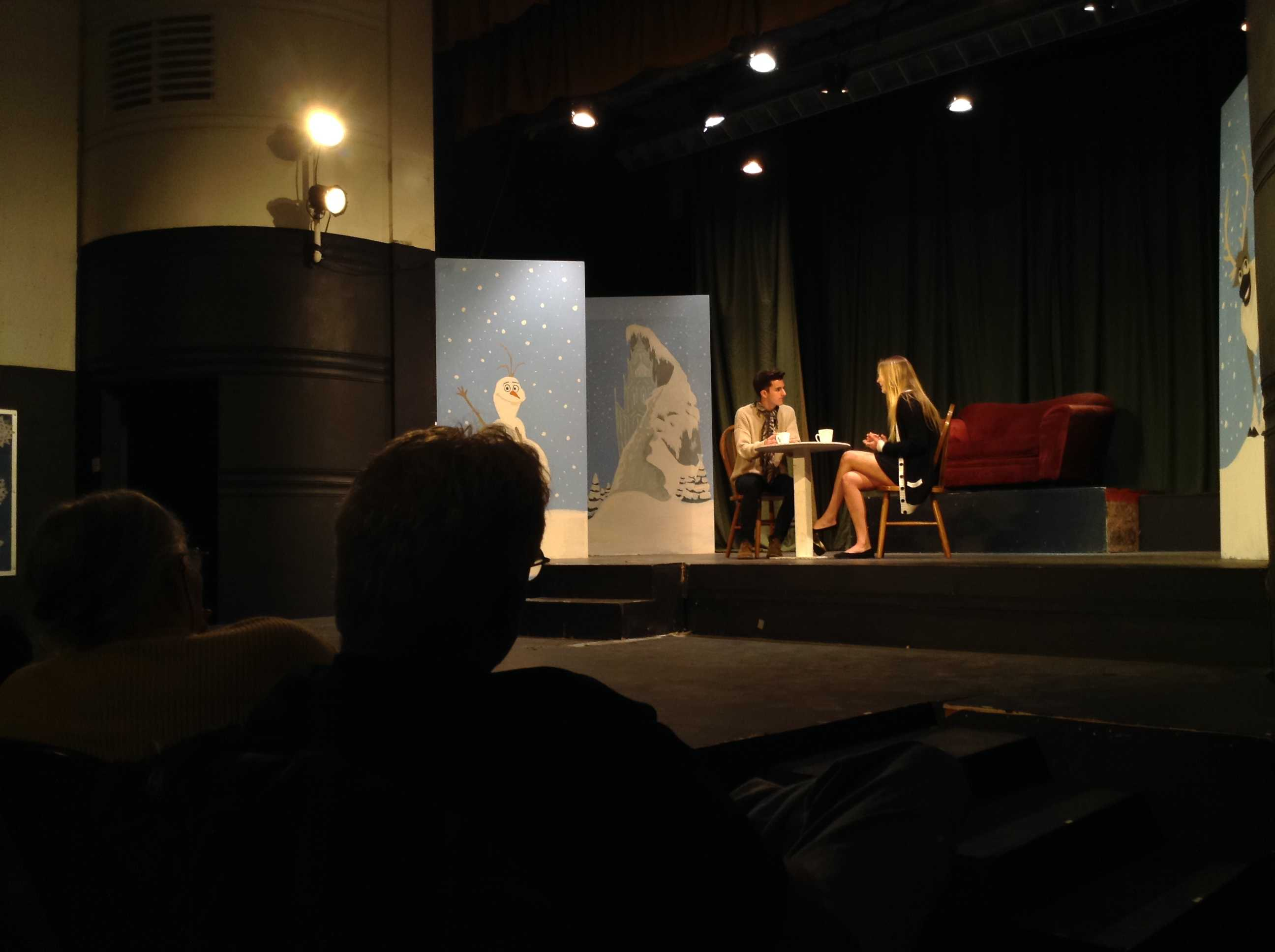 Juniors Troy and Katy Rothstein perform their skit in the Winter