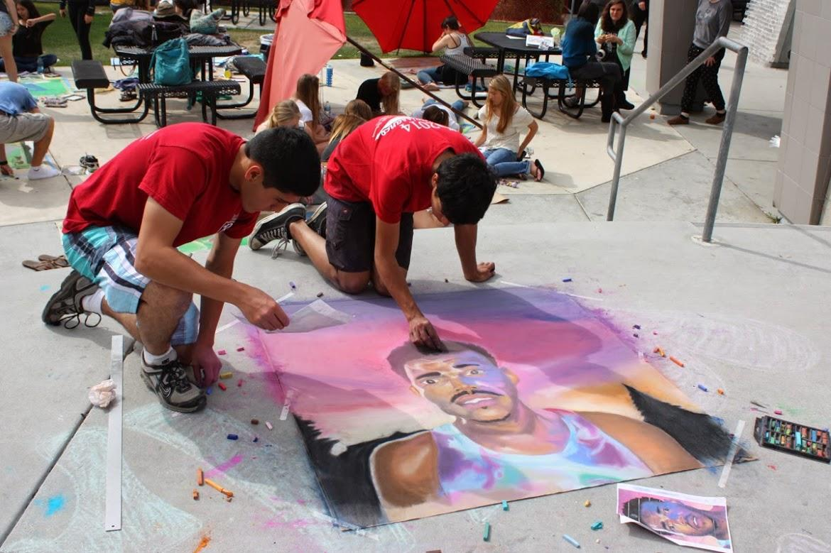 (From Left to Right) Seniors Michael Morales and Diego created a portrait of