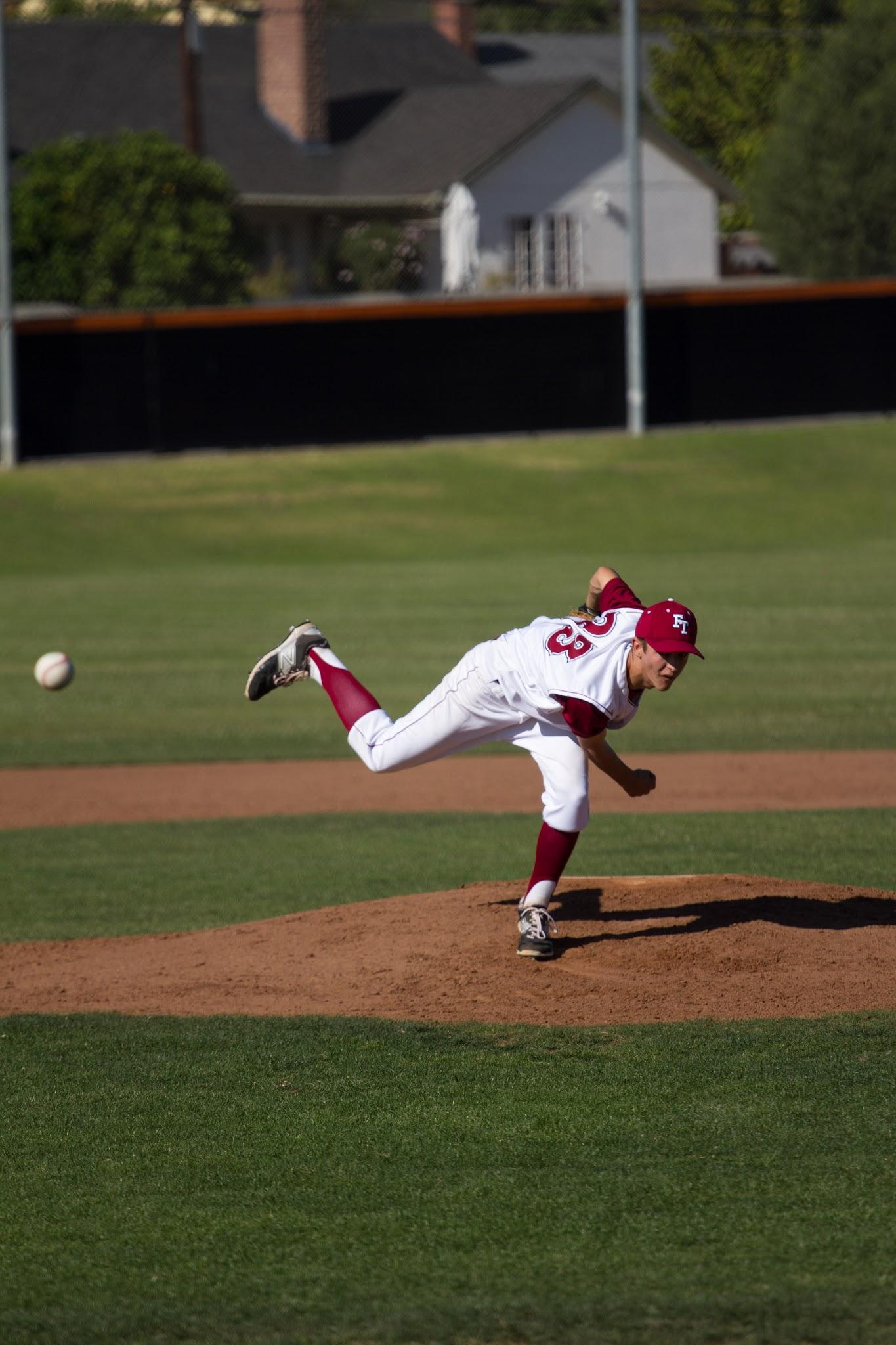 Foothill junior Josh Ellison pitching. Credit: Austin Hunt/ The Foothill Dragon Press