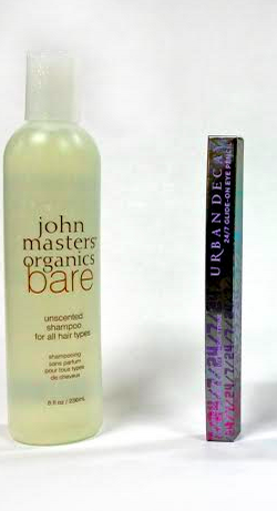 John Masters Organics Shampoo and the 24/7 Glide-On Eye Pencil. Credit: Johnathan Carriger/The Foothil Dragon Press