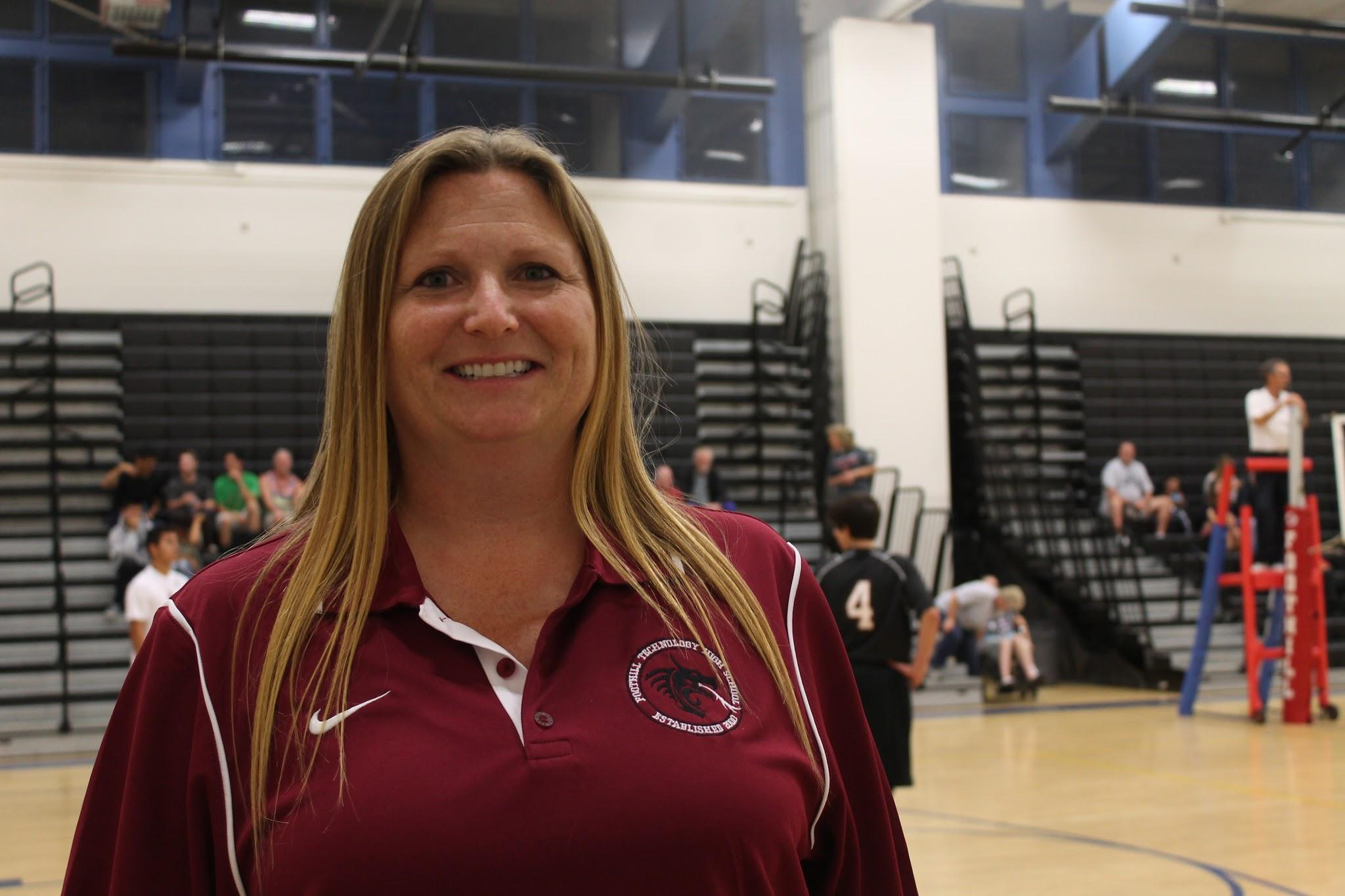 Coach Janine Cobian brings positivity and  ambition to Foothill's inaugural boys volleyball team. Credit: Sarah Kagan/The Foothill Dragon Press