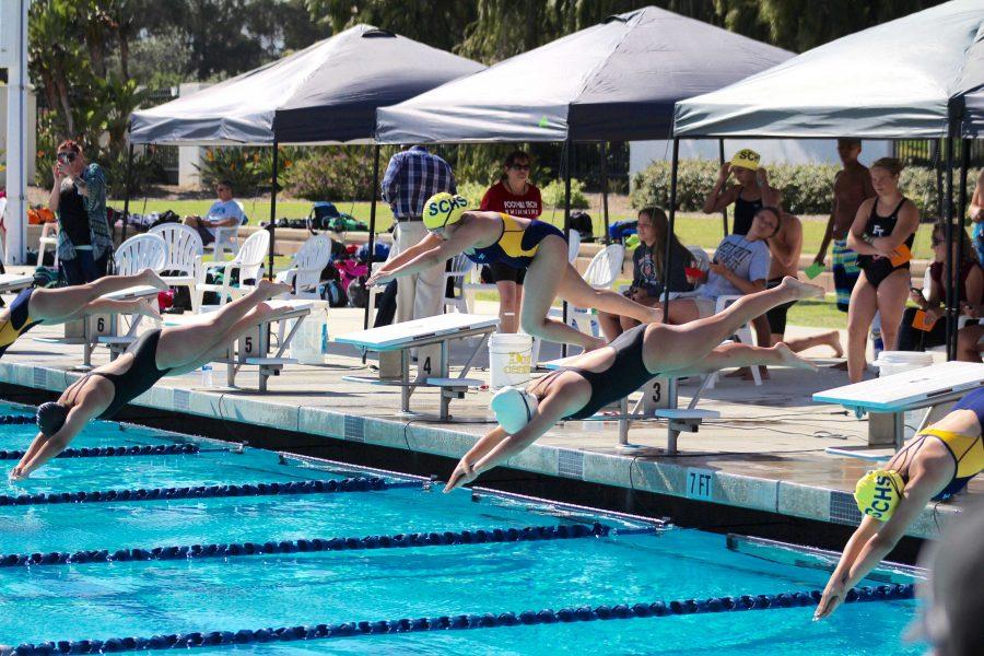 The Foothill swim team triumphed against Santa Clara High School at their first swim meet. Credit: Kazu Koba/The Foothill Dragon Press