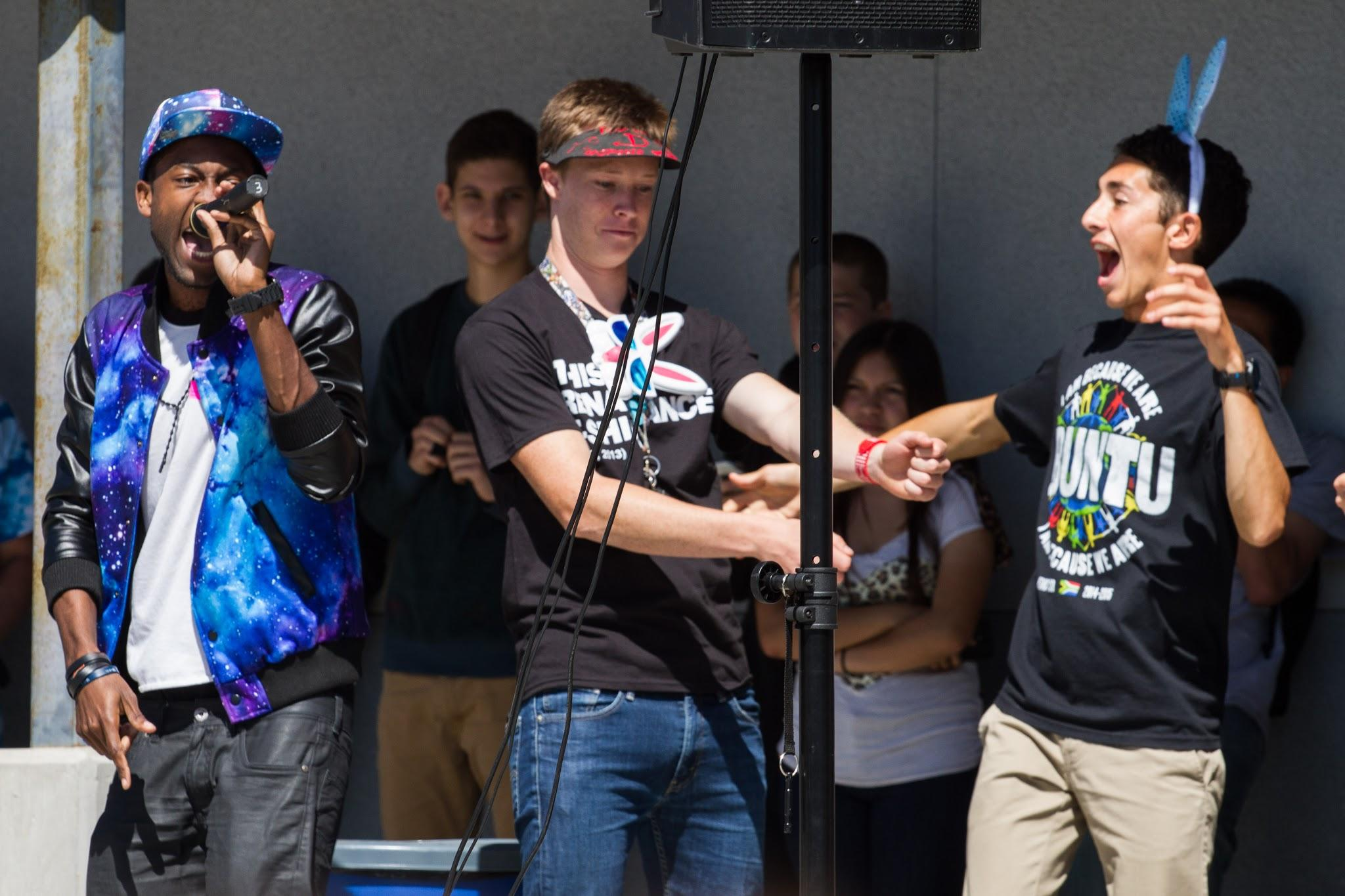ASB Presicent Nick Vaughan and Vice President dance along with Storm. Credit: Austin Hunt /The Foothill Dragon Press