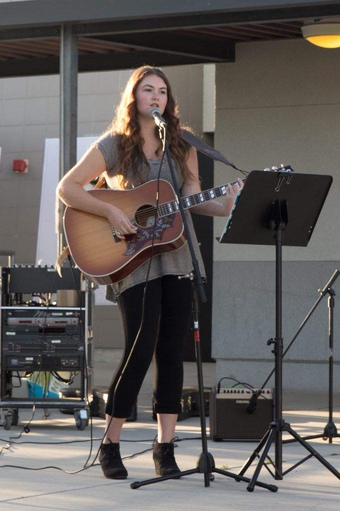 Junior Corinn Conant sang and played the guitar. Credit: Josh Ren/The Foothill Dragon Press