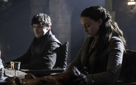 Iwan Rheon as Ramsay Bolton and Sophie Turner as Sansa Stark in