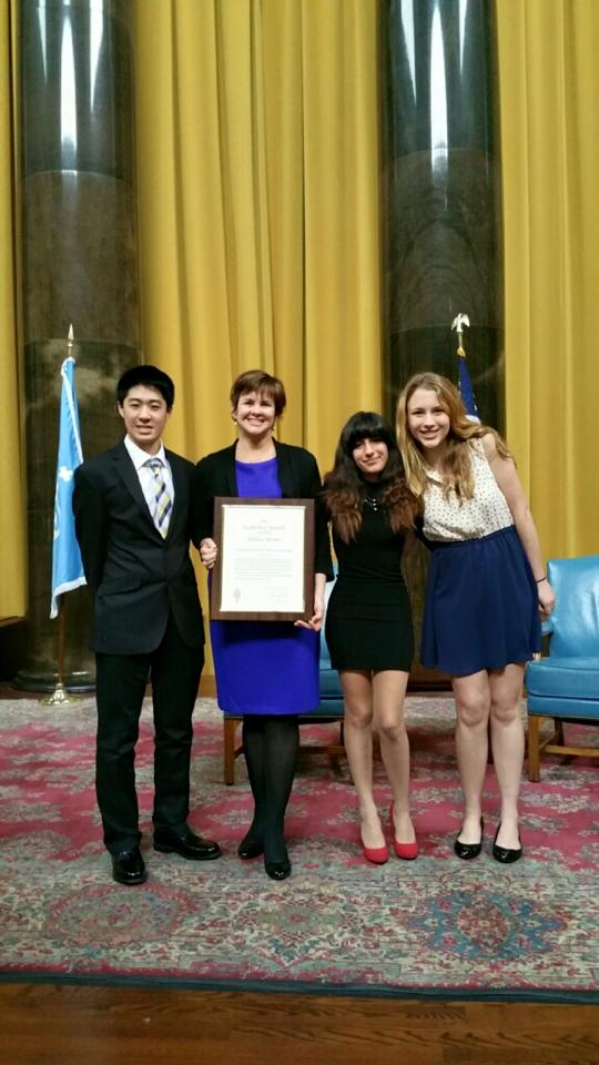 (From left to right) Senior Kazu Koba, adviser Melissa Wantz, senior Canela Lopez and junior Fidelity Ballmer at Columbia University as Wantz wins a Gold Key Award from the Columbia Scholastic Press Association. Credit: Dan Nelson