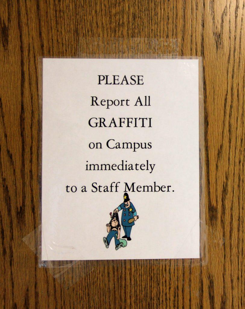 The sign on the door of the boys' bathroom in Spirito Hall. Credit: Carrie Coonan/The Foothill Dragon Press