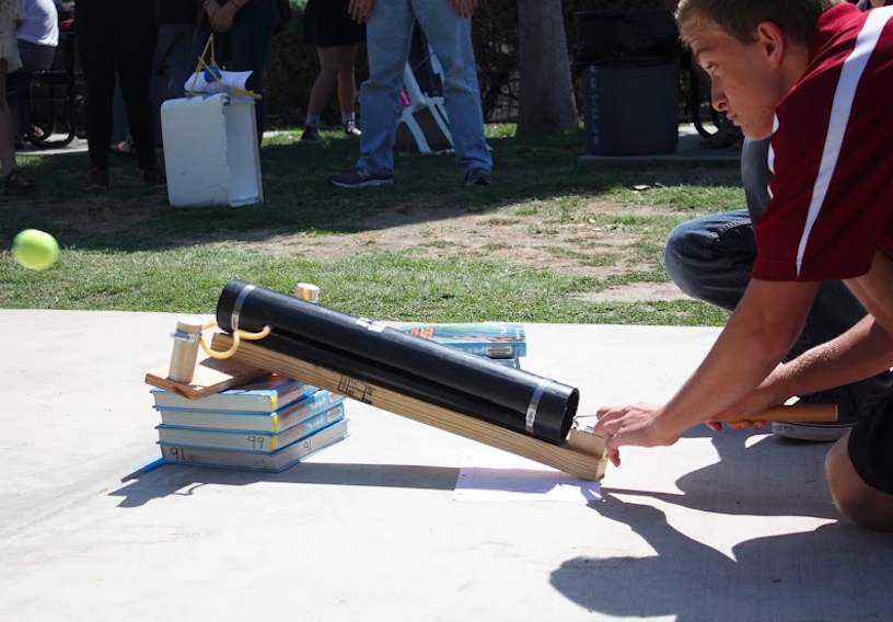 Each student created a different launcher that they thought would work best. Credit: Grayson McCoy/The Foothill Dragon Press