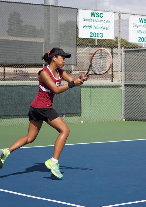 Sophomore Sherlyn Khouvilay returns the serve. Credit: Chloey Settles/The Foothill Dragon Press