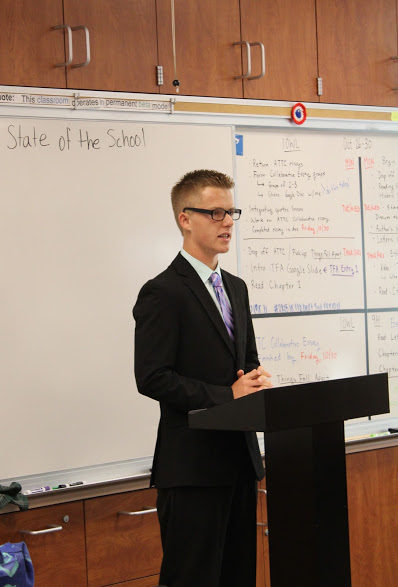 ASB President Cody Clark speaks about the class of 2016's current budget problems during the State of the School address Friday morning. Credit: Carrie Coonan/The Foothill Dragon Press