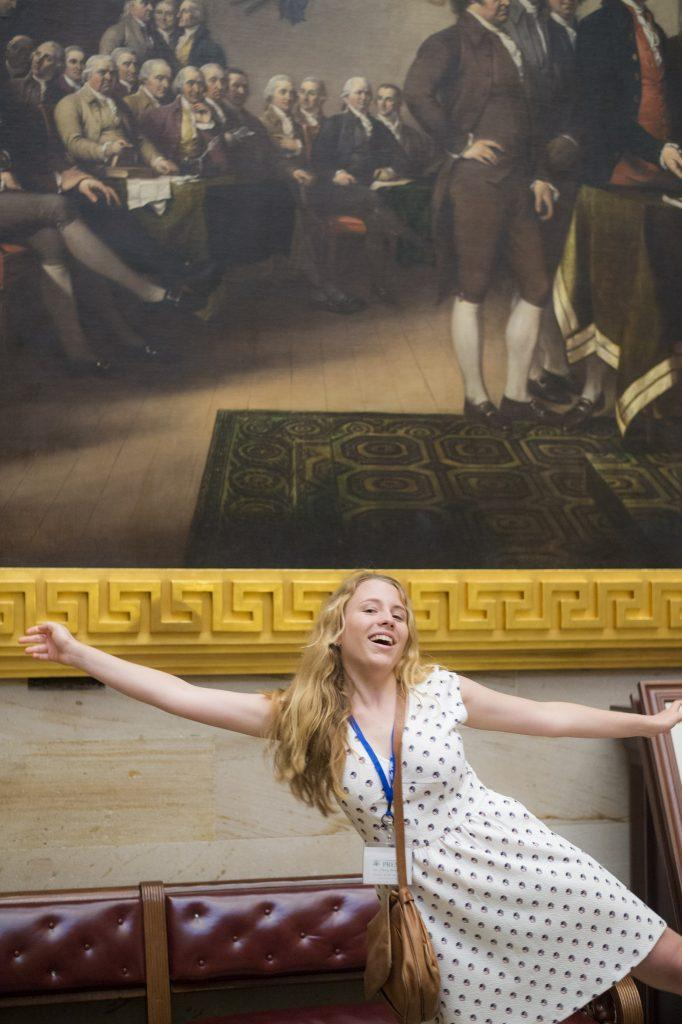 Me by one of the historic rotunda paintings in the U.S. Capitol. Courtesy of the Newseum Institute.