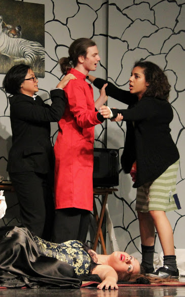 """Senior Kevin Holland starred as Dr. Evil in the Foothill Drama Club's performance of """"Dr. Evil and the Basket of Kittens."""""""