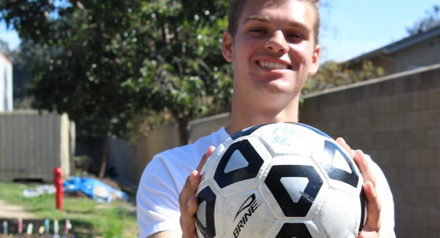 Aidan Wedderien finds a path with soccer