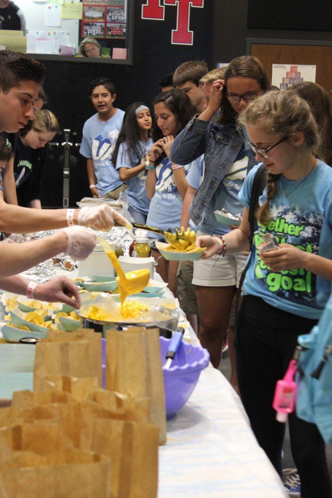 Students wearing their Renaissance t-shirts received movie-themed food during Friday's Pixar-themed Renaissance Rally. Credit: Grayson McCoy/The Foothill Dragon Press