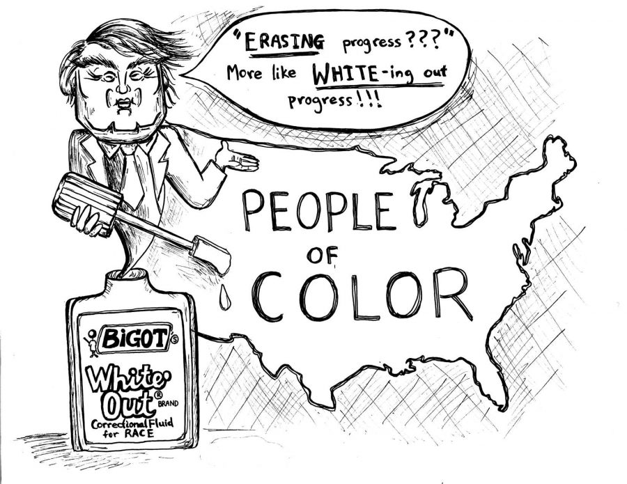 Political cartoon by Rachel Chang / The Foothill Dragon Press.