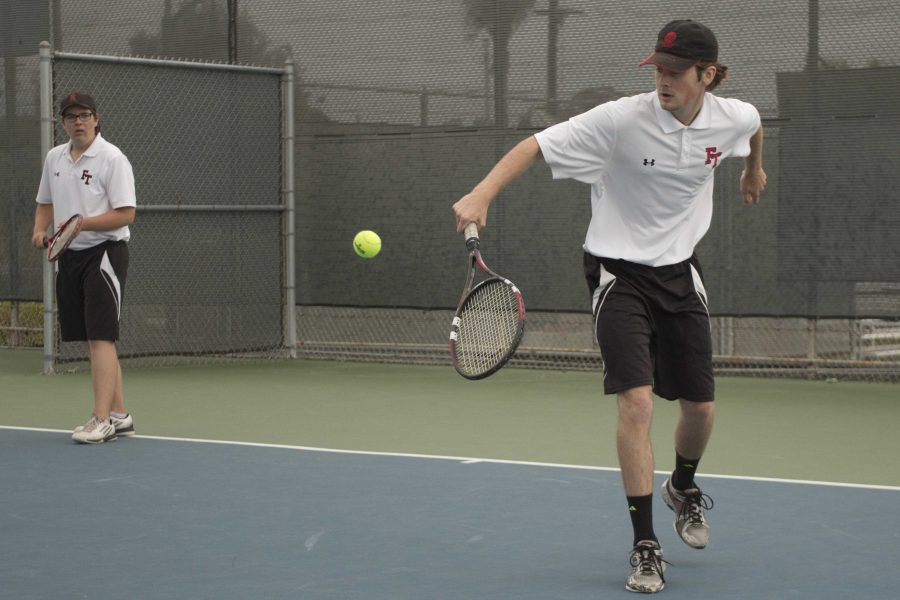 Jaden+Carlson+%2720+and+Kyle+Spasiano+%2717+during+a+doubles+match.+Credit%3A+Grace+Carey+%2F+The+Foothill+Dragon+Press