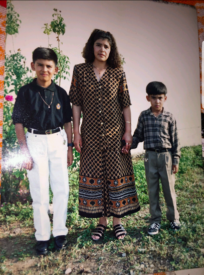Adrian Sanchez (left) with his mother and younger brother in Mexico. Credit: Used with permission from Adrian Sanchez