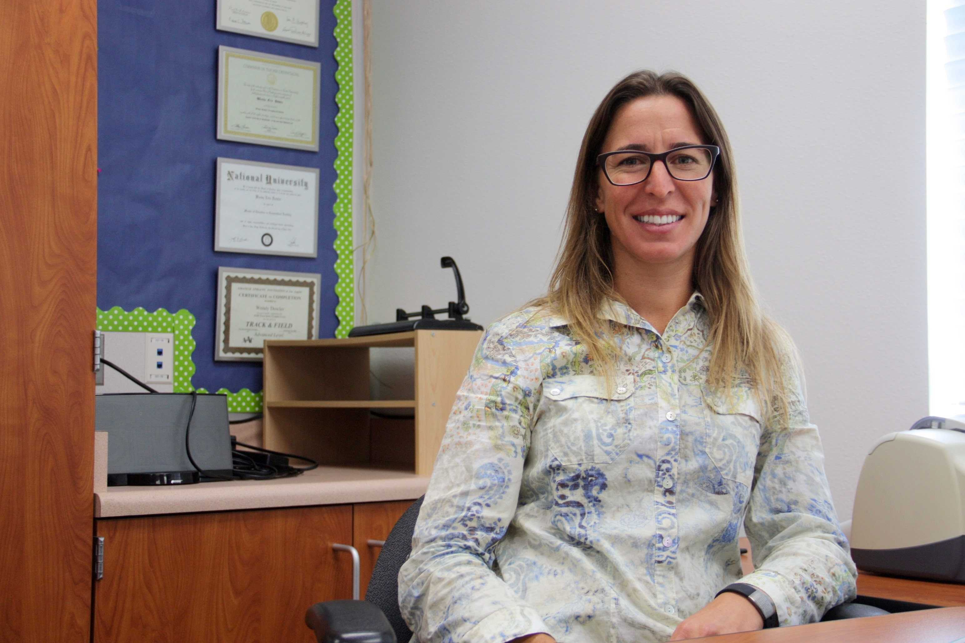 New English teacher Schmidt in her Foothill classroom. Credit: Abigail Massar / The Foothill Dragon Press