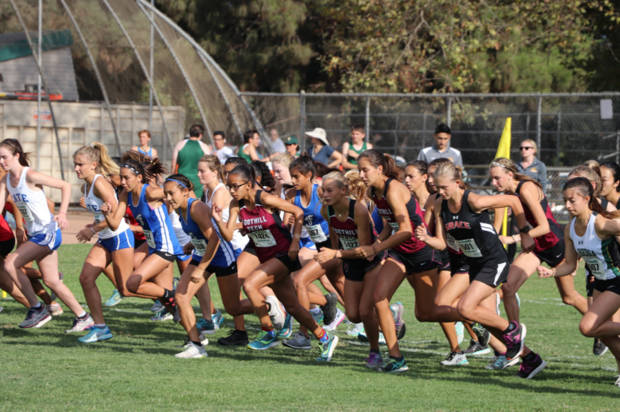 The+girls%27+varsity+race+begins.+Credit%3A+Olivia+Sanford+%2F+The+Foothill+Dragon+Press