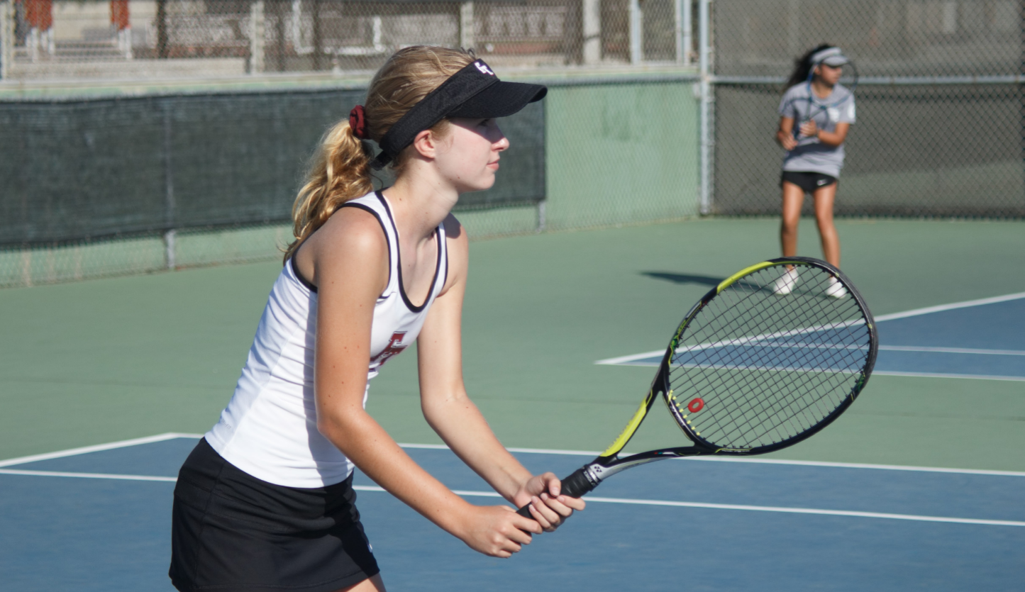 Girls' tennis causes racket at home game against Thacher