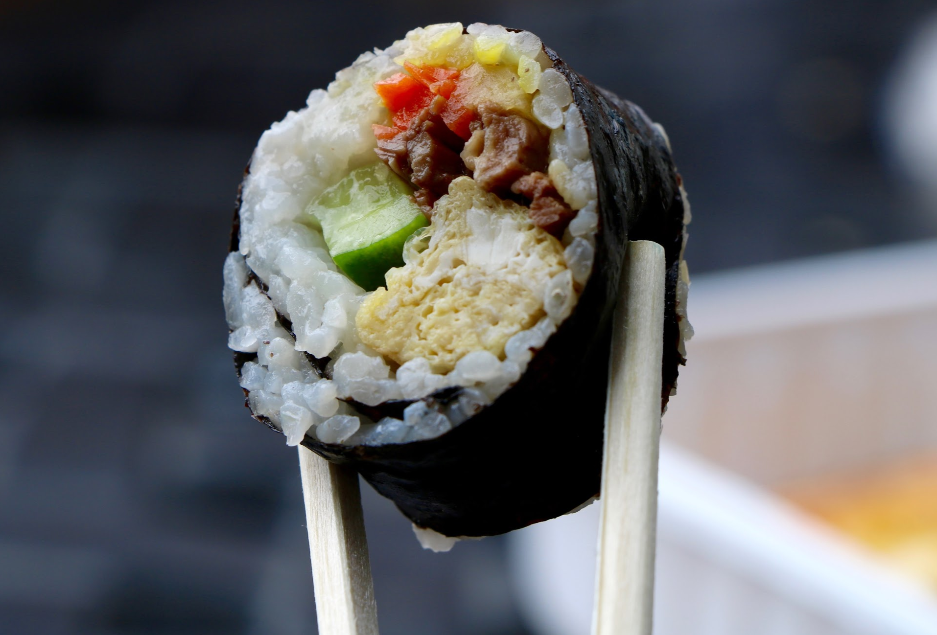 Gimbap is is roll with meat, rice and vegetables. Credit: Abigail Massar / The Foothill Dragon Press