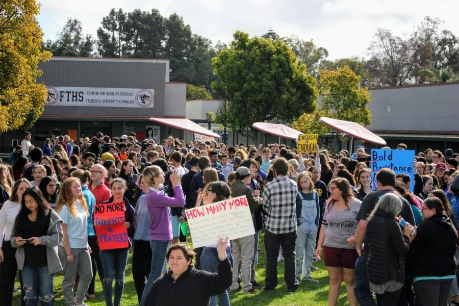 Multiple+students+made+signs+in+protest+of+current+gun+legislation+and+to+raise+awareness+during+the+17+minute+walkout.+%0ACredit%3A+Gabrialla+Cockerell+%2F+The+Foothill+Dragon+Press