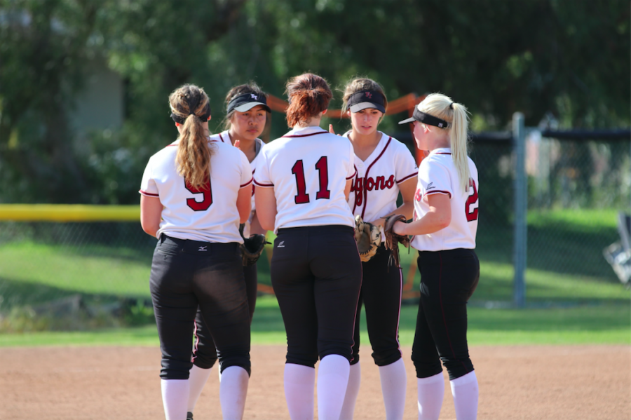 Infield+players+huddle+up+after+Jamie+Dietz+%2719+makes+the+second+out+of+the+last+inning.+Credit%3A+Olivia+Sanford+%2F+The+Foothill+Dragon+Press