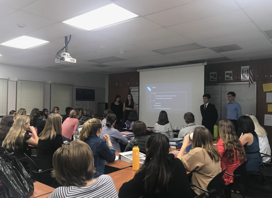 Emiline Bova, Abby Bova, Raine Haggerty and Darren Wu '19 present their Disease Projects. Credit: Amazing Oakes / The Foothill Dragon Press