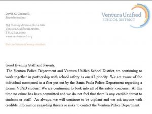 BREAKING NEWS: District, Ventura Police Department address potential threat to VUSD schools
