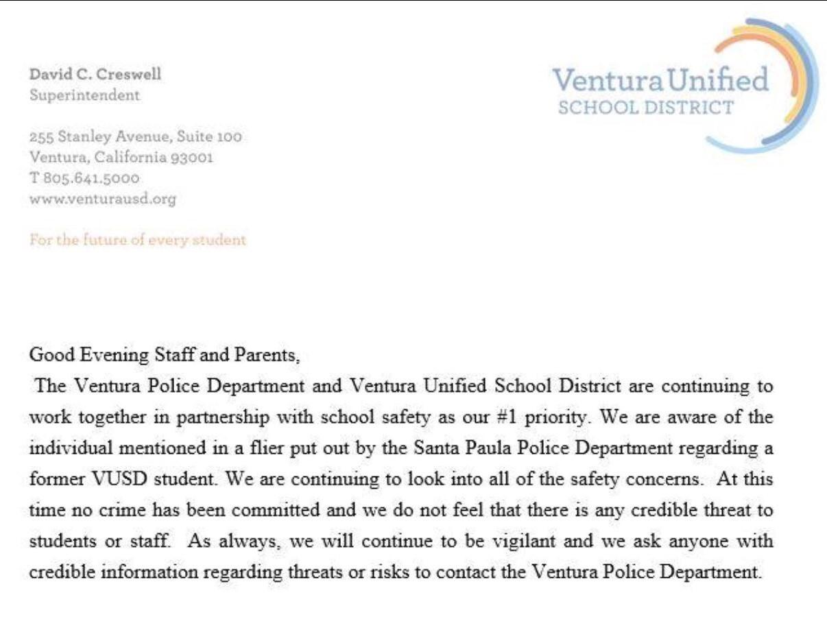 BREAKING NEWS: District, Ventura Police Department address potential threat to VUSD schools
